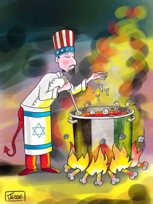 Cartoon selecionado para o catálogo do The International Gaza Cartoon & Caricature Contest-2014 do Irã (Foto: Jessé Ribeiro / Arquivo pessoal)