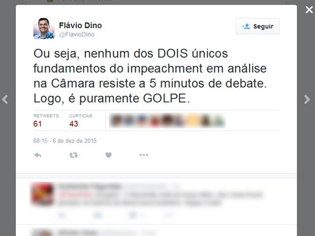 Flávio Dino usou redes sociais para manifestar-se contra impeachment (Foto: Reprodução)