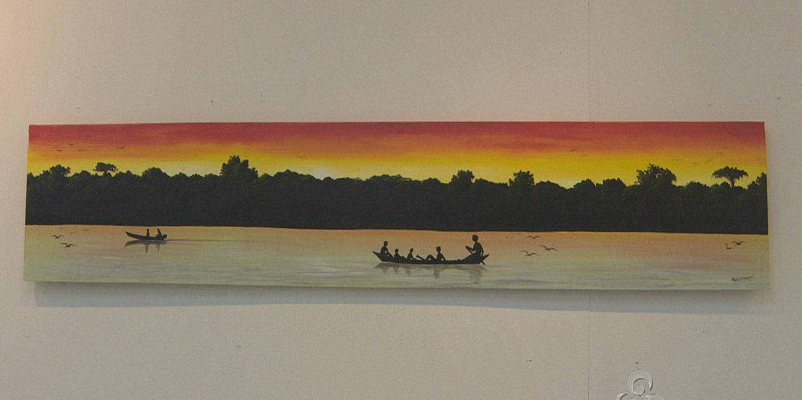 Quadro em exposição na Casa da Cultura Ivan Marrocos (Foto: Amazônia TV)