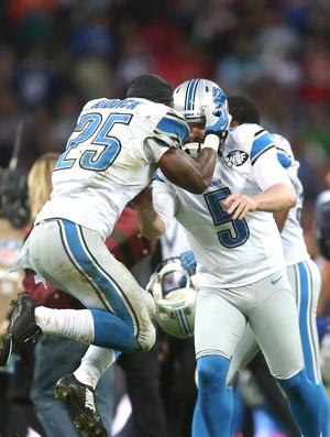 Detroit x Atlanta, da NFL, Matt Prater e Theo Riddick (Foto: Getty Images)