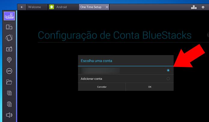 Cadastre sua conta Google no Bluestacks (Foto: Reprodução/Paulo Alves)