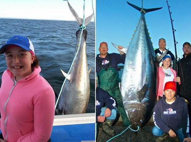 Jenna Gavin bateu recorde mundial juvenil feminino ao fisgar atum de 280,5 kg (Foto: Reprodução/Facebook/Chandra Gavin-IGFA)