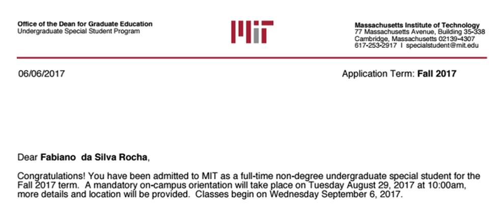 E-mail enviado pelo MIT para o estudante de Rio Preto (Foto: Reprodução)