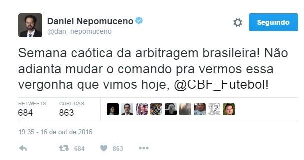 Daniel Nepomuceno usa o Twitter para reclamar de arbitragem (Foto: Reprodução/Twitter)