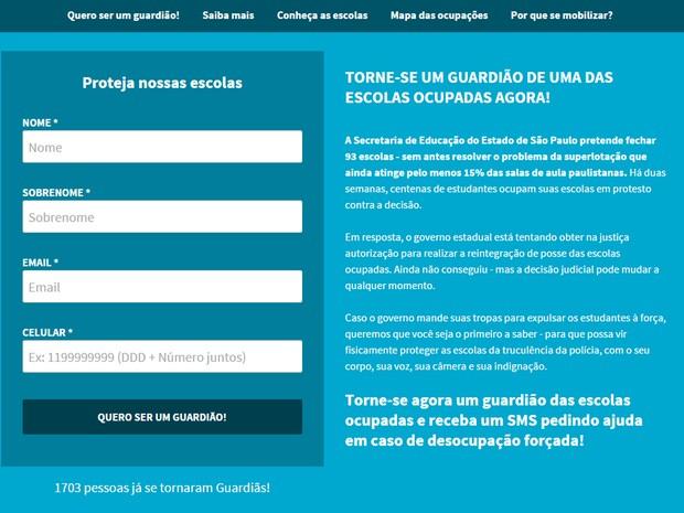 Site cadastra dados para envio em massa de alertas por SMS sobre as escolas estaduais ocupadas em SP (Foto: Reprodução/Minha Sampa)