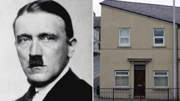Adolf Hitler e a casa no País de Gales: a porta seria equivalente ao indefectível bigode do líder nazista (Foto: BBC)