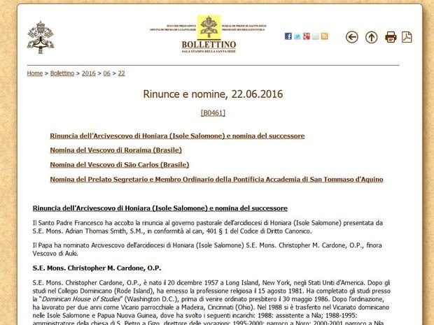 Nomeação foi anunciada no boletim emitido diariamente pelo Vaticano (Foto: Reprodução)