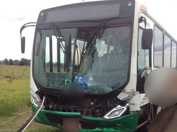 Ônibus bateu na traseira de uma carreta ao tentar ultrapassar (Foto: Adriel Mattos/ G1MS)