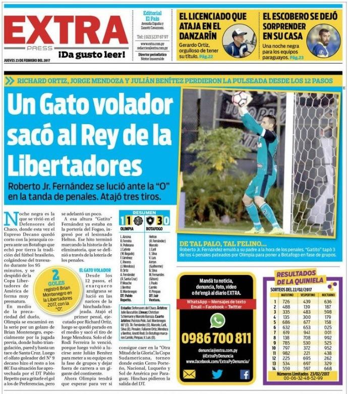 """BLOG: Gatito """"vilão"""", técnico na berlinda e queda dupla: os jornais paraguaios desta quinta"""