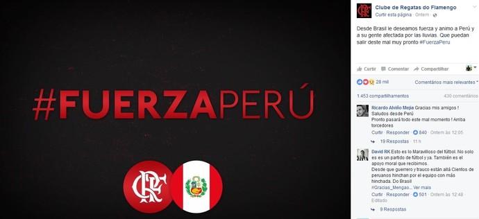 Post Flamengo facebook chuvas no Peru (Foto: Reprodução)