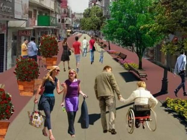 Projeto de rua para pedestres no Polo da Glória, em Vila Velha (Foto: Divulgação/ Prefeitura de Vila Velha)