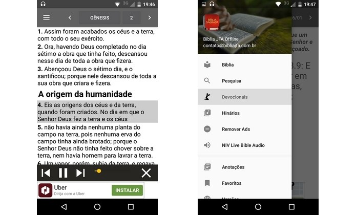 App gratuito Bíblia JFA Offline, para Android e iOS (Foto: Reprodução/Raquel Freire)