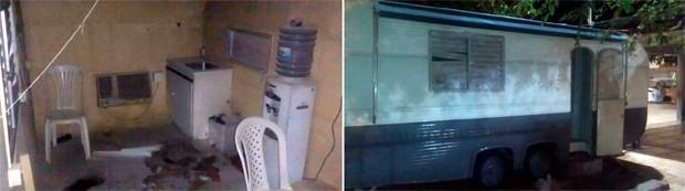 Trailer da PM teve a janela danificada; dentro da unidade, criminosos jogaram um produto inflamável e atearam fogo (Foto: Divulgação/Polícia Militar do RN)