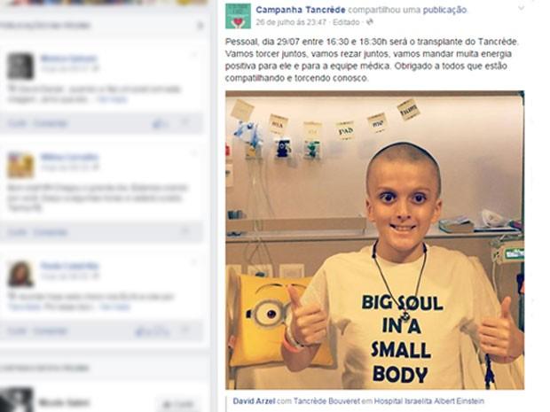 Menino americano Tancrède Bouveret com leucemia rara fará transplante de medula óssea no Hospital Albert Einstein, em São Paulo (Foto: Reprodução/Facebook/Campanha Tancrède)