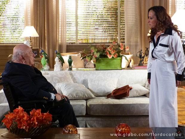 Dionísio revela a Guiomar que Maria Adília é o amor de  sua vida (Foto: Flor do Caribe / TV Globo)