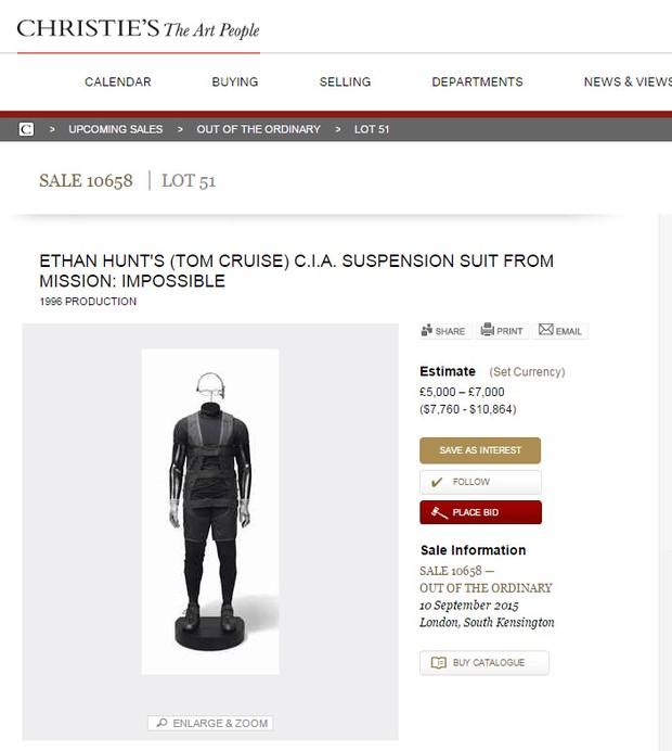 Loja vende roupa usada por Tom Cruise em Missão Impossível (Foto: Reprodução)