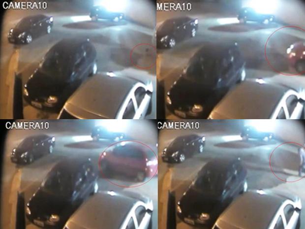 Sequência mostra assalto e vítima ilesa após atropelamento (Foto: Reprodução)