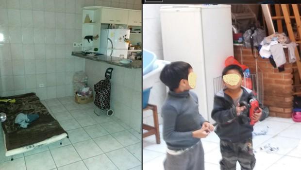 Cama improvisada na cozinha da oficina; filhos dos trabalhadores também moravam no local (Foto: Ministério do Trabalho e Emprego/Divulgação)