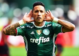 Palmeiras X Vitória comemoração Barrios (Foto: Marcos Ribolli)