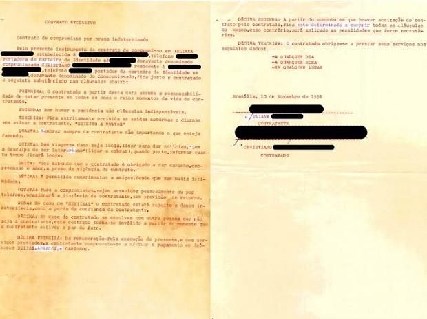 Contrato de amor encontrado por servidora pública em apartamento em reforma em Brasília (Foto: Renata Vasconcellos/Arquivo Pessoal)