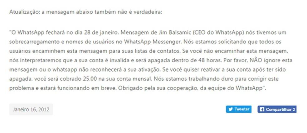 Mensagem falsa foi desmentida em 2012 pelo WhatsApp (Foto: Reprodução/ WhatsApp)