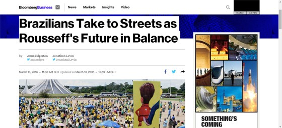 Bloomberg repercute manifestações de 13 de março (Foto: Reprodução)