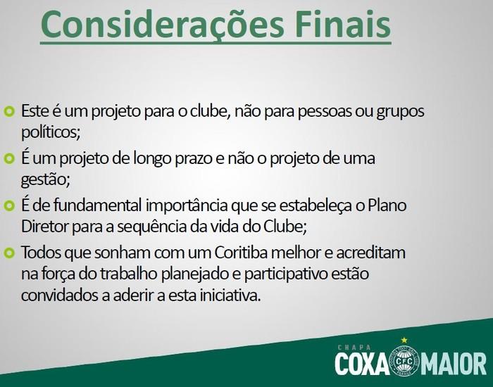 Blog Torcida Coritiba - chapa Coxa Maior Considerações finais