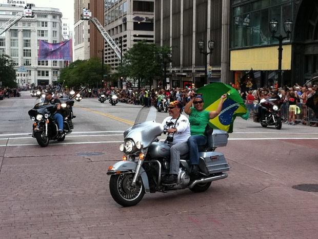 Brasileiros participam das comemorações dos 110 anos da Harley-Davidson nos EUA (Foto: Rafael Miotto/G1)