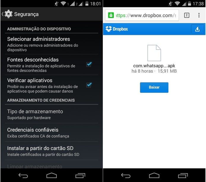 Baixe a atualização em APK do aplicativo para Android (Foto: Reprodução/Carol Danelli)