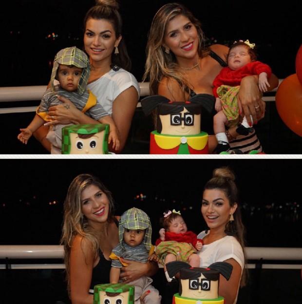Kelly Key com Artur e Bárbara com Anna (Foto: Reprodução/Instagram)