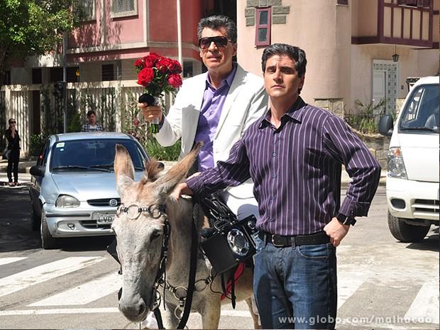 Paulo Betti não se intimidou com o animal e gravou em cima do jegue (Foto: Jacson Vogel / TV Globo)