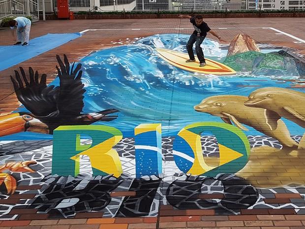 Eduardo Kobra também fez obra em 3D com elementos do Rio em Tóquio (Foto: Divulgação)
