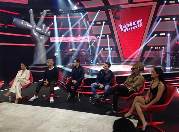 Ivete Sangalo, Lulu Santos, Michel Teló, Carlinhos Brown, Tiago Leifert e Mariana Rios (Foto: Ed. Globo)