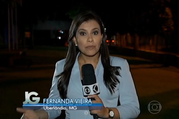 A repórter Fernanda Vieira falou diretamente da cidade de Uberlândia para o Jornal da Globo (Foto: Divulgação | TV Integração)