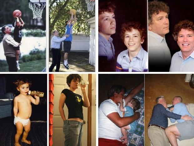 Pessoas recriam suas fotos de família com os personagens 'atualizados'.  (Foto: Reprodução)