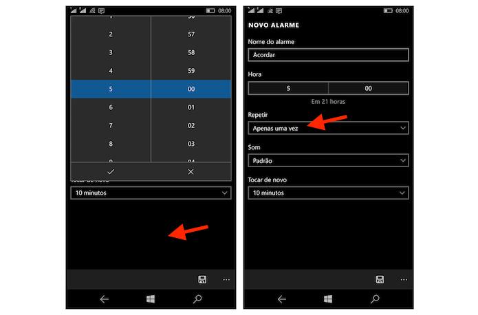 Definindo a hora do alarme e iniciando a configuração de repetição em um dispositivo com Windows 10 Mobile (Foto: Reprodução/Marvin Costa)