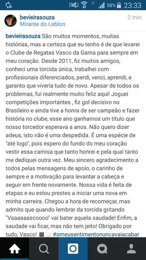 Bernardo publica texto de despedida do Vasco (Foto: Reprodução/Instagram)