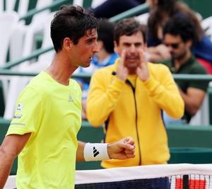 Thomaz Bellucci e João Zwetsch na partida contra Delic Copa Davis (Foto: Cristiano Andújar / CBT)