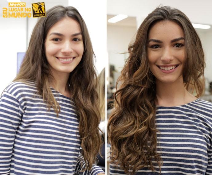 Marina Moschen fez mechas nos cabelos para viver Luciana (Foto: Gabriel Nascimento/Gshow)