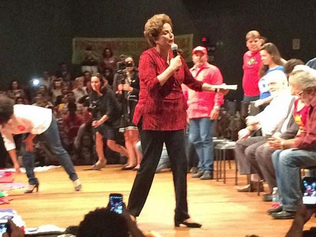 Dilma Rousseff em ato contra o impeachment em 24 de agosto no Teatro dos Bancários, em Brasília (Foto: Filipe Matoso / G1)
