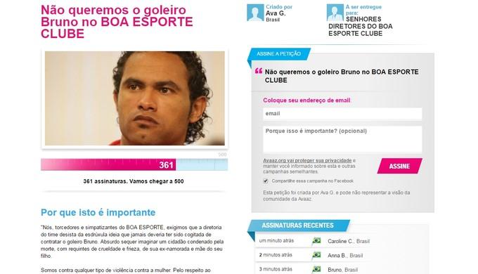 Petição online contra contratação do goleiro Bruno foi criada por moradores nas redes sociais (Foto: Reprodução)