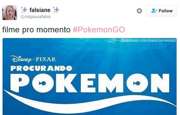 Filme 'Procurando Dory' tem o nome mudado em homenagem ao lançamento de 'Pokémon Go' (Foto: Reprodução/Twitter/falsiane)