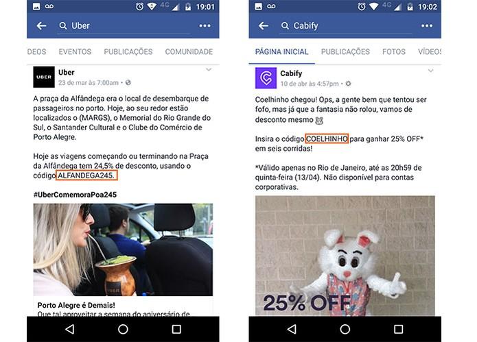Encontre descontos para a Uber e Cabify nas redes sociais oficiais (Foto: Reprodução/Barbara Mannara)