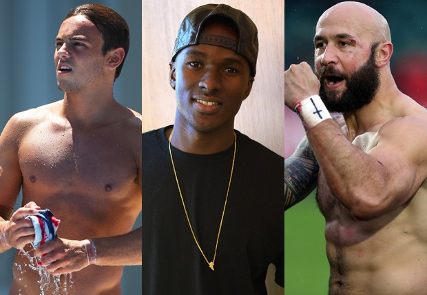 Tom Daley, Will Claye e DJ Forbes (Foto: Getty Images)