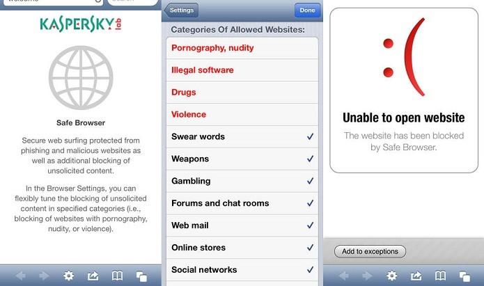 Kaspersky Safe Browser adiciona mais segurança na sua navegação (Foto: Divulgação/App Store)