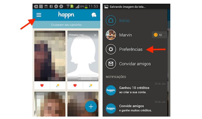Acessando as preferências do Happn para ativar a inatividade do app de paquera no Android (Foto: Reprodução/Marvin Costa)
