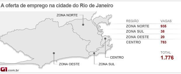 Mapa do emprego do Rio - 5/09/12 (Foto: Editoria de arte/G1)
