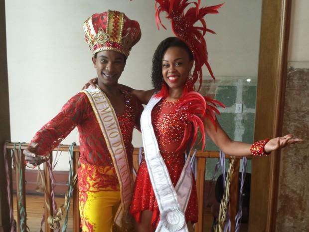 Rei e princesa da Corte Momesca do Carnaval 2016 de BH (Foto: Thaís Leocádio/G1)