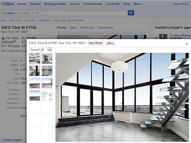 Detalhes do imóvel à venda estão no site da imobiliária Zillow (Foto: Reprodução/Zillow)