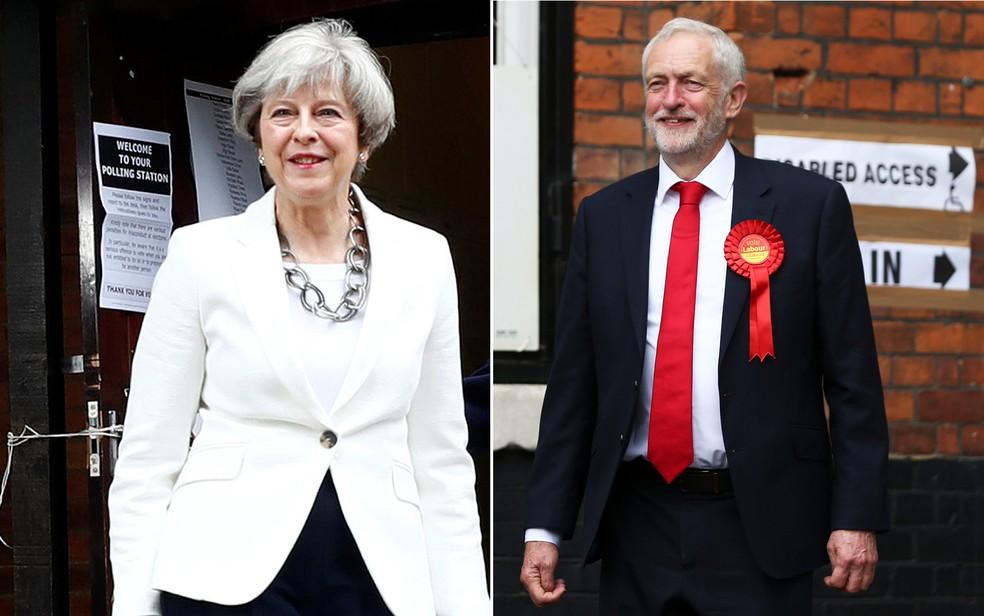 May e Corbyn, após votação no Reino Unido (Foto: Eddie Keogh e Neil Hall / Reuters)
